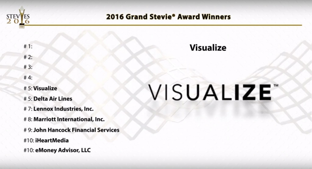 A slide from the Tenth Annual Stevie Awards shows Visualize in some good company.